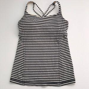 Lululemon Athletica Black Stripe Free to Be Tank 6